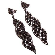 Fabulous LONG Black on Black Rhinestone Vintage Dangle Clip Earrings