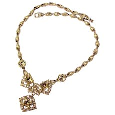 Fabulous BOGOFF Signed Clear Rhinestone Vintage Necklace