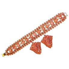 Fabulous SATIN GLASS Pink Rhinestone Vintage Bracelet & Clip Earrings Set