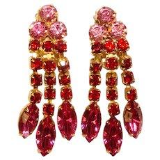 Fabulous PINK & RED Vintage Rhinestone Dangle Earrings