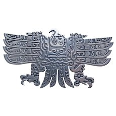 Fabulous PERUVIAN STERLING Bird Vintage Brooch - Peru Signed