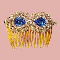 Fabulous BLUE Rhinestone Vintage Hair Comb