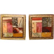 Awesome DESTINO Signed Stone Mosaic Inlay Vintage Cufflinks