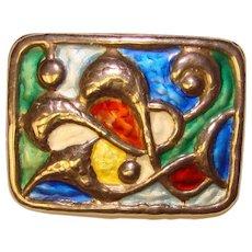 Fabulous OYSTEIN BALLE Norway Sterling Enamel Modernist Vintage Brooch
