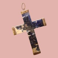 Fabulous Sterling Large Vintage POLISHED STONE Cross Pendant