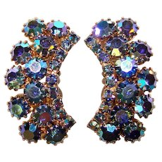 Fabulous BLUE AURORA Vintage Rhinestone Clip Earrings
