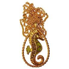 Fabulous TRIFARI SEAHORSE Design Pendant Necklace