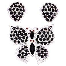 Fabulous WEISS Butterfly Signed Vintage Brooch Set - Black & Red Rhinestone White Enamel