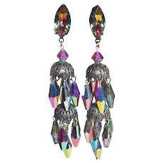 Fabulous LEWIS SEGAL Signed Vitrail Crystal & Rhinestone Vintage Earrings - Long Dangle Dangling Clip Earrings