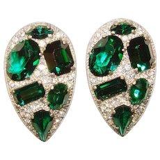Fabulous ART DECO Green & Clear Rhinestone Dress Clips - Matching Pair