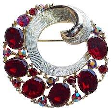 Fabulous LISNER Signed Red Rhinestone Vintage Brooch