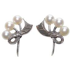 Fine MIKIMOTO Sterling & Cultured Akoya Pearl Vintage Estate Earrings - Screw Backs