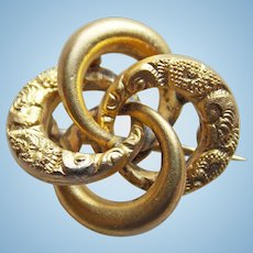 Tiny Antique INTERLOCKING CIRCLES Mini Brooch - For Your Doll - Victorian