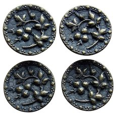"""Large Antique Buttons TW & W PARIS 1 1/4"""" Berry and Leaf Picture Story French France"""
