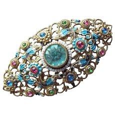 Gorgeous CZECH DECO Rhinestone Enamel Painted Brooch