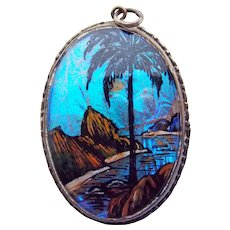 Fabulous Morpho BUTTERFLY WING Vintage Large Pendant - Tropical Scene Reverse Painted
