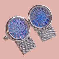 Special Poured Glass Stones Mesh Wrap Vintage Cufflinks - Blue & Purple