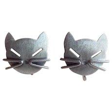 Awesome CAT FACE Beau Sterling Vintage Earrings - Screw Backs