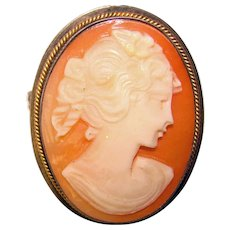 Gorgeous CARVED SHELL CAMEO in Sterling Setting Vintage Brooch