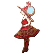 Awesome Old RED HOT MAMA Vintage Enameled Brooch