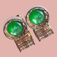 Awesome GREEN STAR LUCITE Wrap Vintage Cufflinks