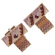AMBER BROWN Rhinestone Mesh Wrap Vintage Cufflinks