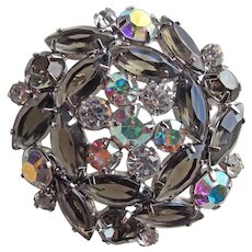 Gorgeous SMOKE & AURORA Rhinestone Vintage Brooch - Open Backed