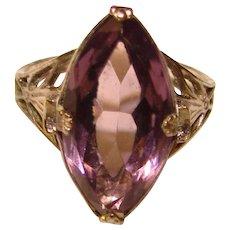 Fabulous ART DECO Signed Purple Glass Stone Filigree Ring