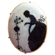 Antique LADY IN GARDEN Silhouette Handpainted Porcelain Brooch