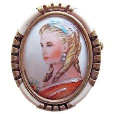 Gorgeous LIMOGES FRANCE Lovely Lady Portrait Signed Vintage Brooch