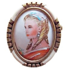 Gorgeous LIMOGES FRANCE Lovely Lady Portrait Signed Vintage Brooch