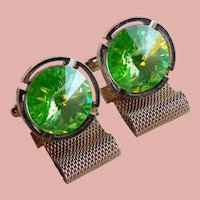 Signed DANTE Green Rivoli Rhinestone Vintage Cufflinks - Headlights