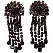 Fabulous BLACK RHINESTONE Vintage Dangle Clip Earrings