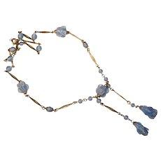 Fabulous BLUE GLASS Art Deco Necklace