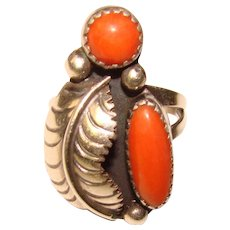 Fabulous STERLING & CORAL Vintage Southwest Design Ring