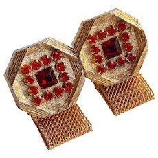 RED Rhinestone Mesh Wrap Vintage Cufflinks