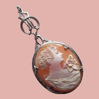 Sterling OSTBY & BARTON Carved Shell Cameo Art Deco Lavalier Pendant