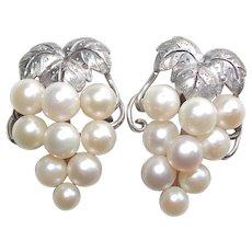 Fine Sterling & Cultured Akoya Pearl Grapes Vintage Earrings - Screw Backs