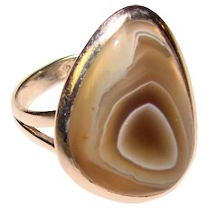 Fabulous STERLING & AGATE Vintage Ring