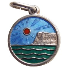 Sterling & Enamel Seascape Vintage Pendant or Charm - Norway or Denmark Signed Scandinavian