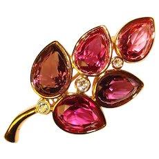 Fabulous SWAROVSKI Signed Pink Purple Crystal Rhinestone Brooch