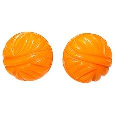 Gorgeous Carved Bakelite Amber Orange Vintage Earrings