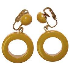 Fabulous BAKELITE Light Olive Green Dangle Hoop Clip Earrings