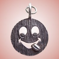 800 Silver Goofy Smiling Face Vintage Estate Pendant Charm - Smile Smiley Have a Nice Day