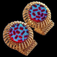RED & CARNIVAL Poured Glass Stones Mesh Wrap Vintage Cufflinks - Red Blue & Green