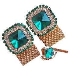GREEN RIVOLI & Clear Rhinestone Mesh Wrap Vintage Cufflinks Set