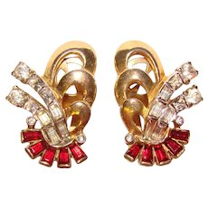 Fabulous MAZER BROS Signed Red & Clear Rhinestone Clip Earrings