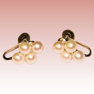 Fine STERLING & Cultured Pearl Vintage Screw Back Earrings