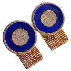 Signed HICKOK Blue Stone Mesh Wrap Vintage Cufflinks