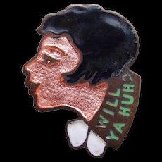 Enamel Flapper Girl Art Deco Vintage Pin Brooch - Will Ya Huh?